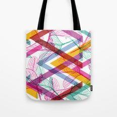 Leaves contours, Rainbow bright magenta pink orange turquoise lilac purple modern trendy pattern Tote Bag