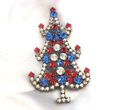 Strassbrosche Weihnachtsbäumchen, Gablonz/Böhmen.   Czech Rhinestone Christmas Tree Pin  *** LIMITED EDITION ***