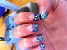 #Purple crystal gel acrylic nails