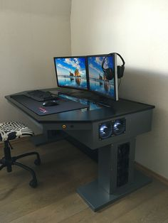 Diy L Shaped Computer Desk Diy Wooden Computer Desk Gaming Computer Setup, Simple Computer Desk, Gaming Room Setup, Pc Setup, Office Setup, Desk Setup, Custom Pc Desk, Video Game Rooms, Gamer Room