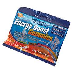 ENERGY BOOST GUMMIES  Victory Endurance te presenta su fórmula Energy Boost en formato sólido, las nuevas Energy Boost Gummies. Combinación ideal en forma de gominolas a base de fruta con la misma composición en hidratos de carbono, aminoácidos, electrolitos y vitaminas de nuestros geles más técnicos, los Energy Boost Gel. Proporcionan energía durante el ejercicio, retrasan la fatiga y mejoran el rendimiento.