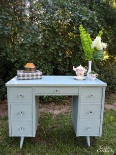 Mid Century Modern Desk Makeover using wax and Annie Sloan chalk paint in Duck Egg Blue. From Just a Little Creativity.