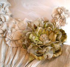 Soft Sage Flower Brooch