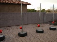 Making a portable (but solid!) tetherball pole - full instructions at site. We made ours Christmas 2012, and it's great. The kids' friends love it, too. And did you know you can buy glow in the dark tetherballs from Amazon?