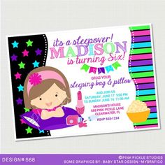 Neon Sleepover Birthday Party Invitations by PinkPickleParties