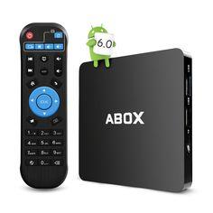 Globmall Android 6.0 TV Box 1GB RAM 8GB ROM with Remote, ABOX 4K WiFi TV Box with Quad-Core 64 Bits CPU Amlogic S905X Chip