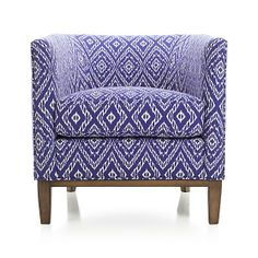 Drew Chair - Strie Ikat: Ultramarine | Crate and Barrel