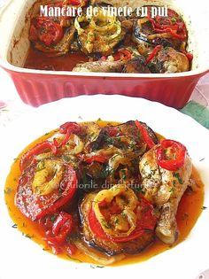 Mancare de vinete cu pui ~ Culorile din farfurie Romanian Food, Romanian Recipes, Ratatouille, Carne, Good Food, Vegetarian, Chicken, Ethnic Recipes, Kitchens
