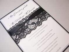 hand made lace wedding invitations | LACEY-3 Lace Wedding Invitation, Invite, Vintage, Shabby Chic, Couture