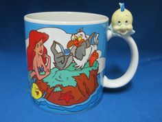 RARE Disney Little Mermaid Mug Cup.  Ariel, Flounder, Sebastian, and Scuttle.