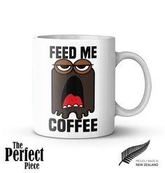 Feed Me Coffee Ceramic Mug  Quote Mug by PerfectPieceShop on Etsy