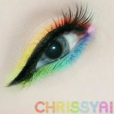 """Tried rainbow eyeshadow for the first time~ (: #makeup #eyeshadow #eyeliner #rainbow #eyemakeup"""