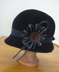 Free Cloche Hat Sewing Pattern   Cloche hat sewing pattern medium size - black cloche