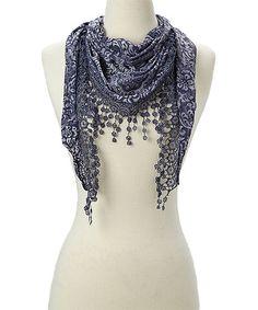 Look at this #zulilyfind! Navy Floral & Crochet-Trim Scarf #zulilyfinds