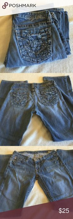 Big Star Sweet Low Boot Big star sweet low boot size 27 with a 31 inch inseam.  Waist measures 14 across.   Rise is 7 inches.    Leg opening is 9 inches.  98%cotton 2% spandex Big Star Jeans Boot Cut