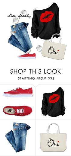 """Text Bag! Xoxo"" by catzmeow ❤ liked on Polyvore featuring Vans and Just Cavalli"