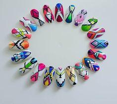 Cute Nail Art Ideas to Try - Nailschick Aztec Nail Art, Tribal Nails, Geometric Nail, Acrylic Nail Art, Gel Nail Art, Nail Art Diy, Diy Nails, Natural Nail Designs, Colorful Nail Designs