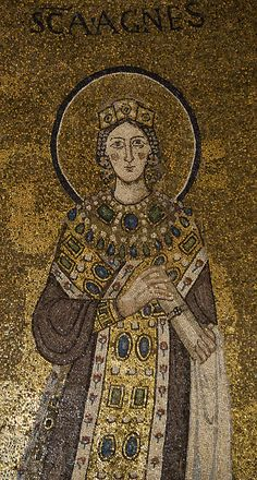 Saint Agnes mosaic-most likely dates from Byzantine Empire.