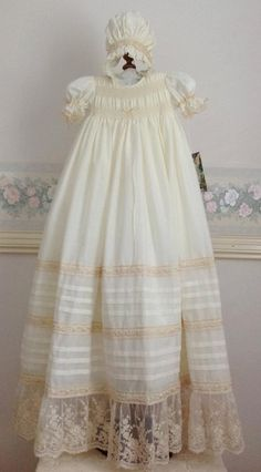 Ivory Cream Voile Christening Gown, My Graceful Heirloom Gown with matching bonnet and petticoat. Size to fit 3 and 6 months. Ready to Ship Baptism Dress, Christening Gowns, Baby Girl Dresses, Girl Outfits, Flower Girl Dresses, Doll Clothes Patterns, Clothing Patterns, Baby Gown, Heirloom Sewing