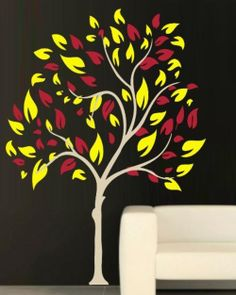 VINYL DECAL NARROW TREE WALL ART STICKER