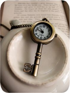 Antiqued Skeleton Key Pocket Watch Necklace - love the concept of the key and timepiece together