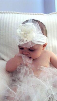Baby Headband... Baby Girl Headband... Vintage Lace and Tulle Flower Headband... Baby Bow Headband... Newborn Headband. $5.99, via Etsy.