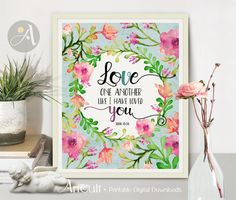 """Printable Wall Art Instant Download inspirational wedding artwork Scripture Bible verse """"Love one another"""" John 13:34, for home decor by ArtCult"""