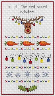 Cross-stitch Rudolf Sampler