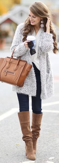 grey fuzzy cardigan // white tunic // Joe's Jeans dark wash denim // Michael Kors boots