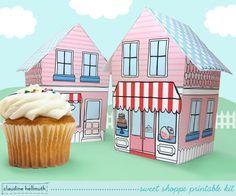 sweet shoppe  cupcake holder favor box party por claudinehellmuth, $4.99