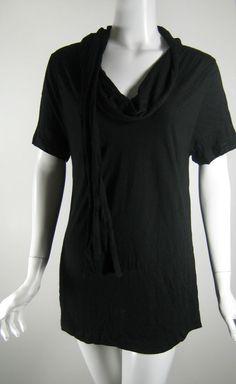 ELIZABETH AND JAMES Black Drapey Cap Sleeve Top Blouse Size Large #ElizabethJames #Blouse