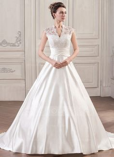 Ball-Gown V-neck Court Train Ruffle Zipper Up Covered Button Cap Straps Sleeveless Church General Plus No Winter Spring Fall Ivory Satin Lace Wedding Dress