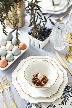 » DIY Blueberry Dyed Easter Eggs + Toasted Coconut Nest Tablescape
