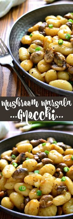 This Mushroom Marsala Gnocchi has all the flavors of chicken marsala. Perfect for Meatless Monday or anytime you're looking for a delicious vegetarian option. And best of all, it comes together in just 10 minutes! Use vegan butter. Vegetarian Options, Vegetarian Recipes, Healthy Recipes, Vegetable Recipes, Pasta Recipes, Dinner Recipes, Cooking Recipes, Potato Recipes, Endive Recipes