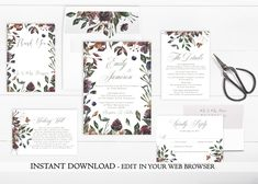 A beautiful Plum Floral Wedding Invitation Set.  Whether you're having a garden or rustic themed wedding, this wedding invitation set is sure to wow your guests. This Wedding Invitation Set is part of the Viola collection.  Don't wait for your first proof! Instantly download and personalize this Floral Wreath Wedding Invitation Set right in your web browser.