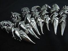 Lot of 7 Skull Gothic Punk Armor Full Finger Long Rings