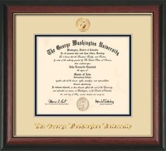 george washington u diploma frame rose gold l seal cream on black - Wvu Diploma Frame