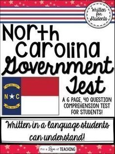 North Carolina Government Test - A 6 page, 40 question comprehensive test for students.  This North Carolina Government Test was created for my 4th graders, and aligns perfectly with my NC Government Unit for sell separately or as a bundle in my store.