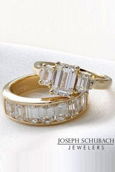 Engagement Band emerald cut engagement rings three stone rose gold diamond band wedding ring set - Emerald cut engagement rings are a wonderful and unique way to express your love. Read the post to choose breathtaking rings! Emerald Cut Engagement, Three Stone Engagement Rings, Engagement Ring Cuts, Diamond Wedding Rings, Vintage Engagement Rings, Diamond Bands, Diamond Cuts, Gold Wedding, Solitaire Diamond