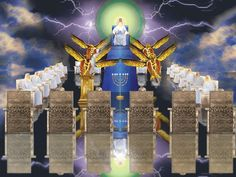 God's Throne - 24 Elders - 4 Living Creatures - Lamb - 7 Spirits - 7 Lamps - 7 Torches - Revelation 4 & 5 - 7 Seals of Revelation Revelation Bible Study, Revelation 4, Pictures Of Christ, Jesus Christ Images, Bible Pictures, Prayers Of The Saints, Celestial, Guardian Angel Pictures, Mercy Seat