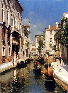 """Rubens Santoro (1859-1942)  Venezia  Oil on canvas  36.8 x 50.2 cm  (14.49"""" x 19.76"""")  Private collection"""