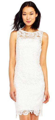 Adrianna Papell | Illusion Neck Lace Sheath Dress
