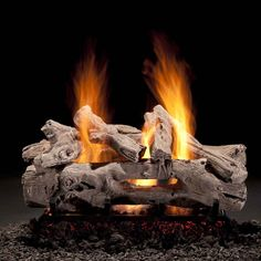 Hargrove Driftwood See-Through Vented Log Set Gas Fireplace Logs, Gas Logs, Fireplaces, Fireplace Ideas, Light My Fire, Brick And Stone, Key Design, Metal Mesh, Traditional Looks