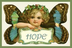 Quilt Block of rare 1900 Art Nouveau trade card titled HOPE by Frances Brundage printed on cotton. Butterfly Emotions Set Ready to sew.  Single 4x6 block $4.95. Set of 4 blocks with pattern $17.95.