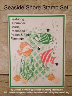 DIY, Handmade Card using the Seaside Shore stamp set and featuring Cucumber Crush, Peekaboo Peach and Flirty Flamingo. This card created for the Color Fusers Blog Hop - Part 2 for July Created by Melissa Kerman, Stampin' Up! demonstrator since 2003.