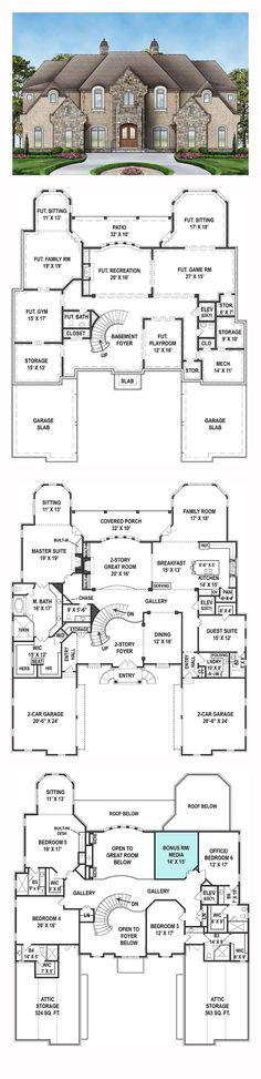 New House Plan 72171 Total Living Area 6072 sq ft 6 bedrooms and 65 bathrooms New House Plans, Dream House Plans, House Floor Plans, My Dream Home, Mansion Floor Plans, 6 Bedroom House Plans, Country Style House Plans, French Country Style, European Style