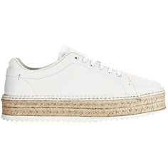 Rag & Bone Women's Kent Espadrille Platform Sneakers found on Polyvore featuring shoes, sneakers, white, white lace up sneakers, platform sneakers, white leather shoes, platform shoes and summer sneakers