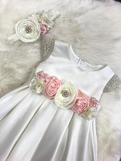Flower Girl Dress Baby Girl Dress white satin baby dress dedication ceremony toddler Baptism Dress Christening dress First Birthday dress