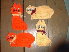 MY KITTY COASTERS PATTERNS - free crochet pattern-omg lol I hve a friend who wld absolutely love these def gng to mke these for her :)