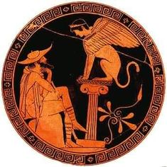 Oedipus and the Sphinx - Ancient Greek Plate